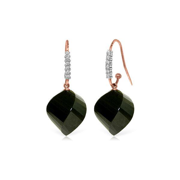 Genuine 31.18 ctw Black Spinel & Diamond Earrings 14KT Rose Gold - REF-54V2W