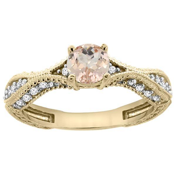 0.69 CTW Morganite & Diamond Ring 14K Yellow Gold - REF-69N2Y