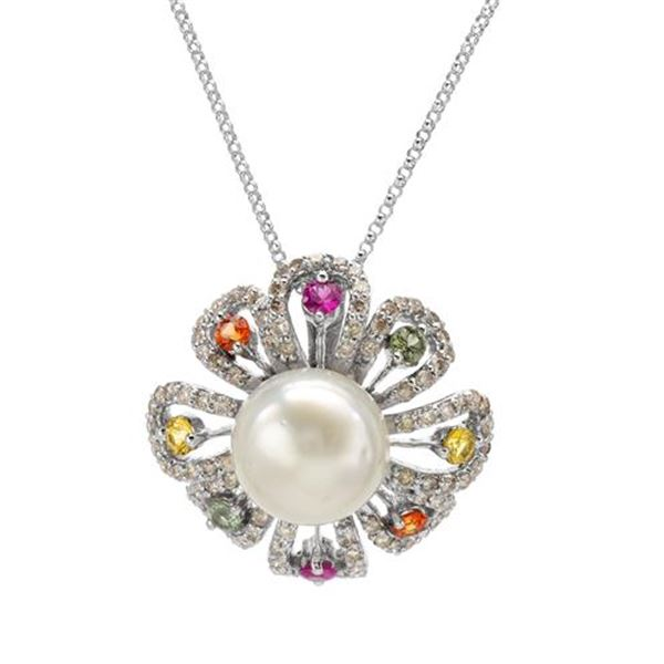 Natural 12.30 CTW Pearl & Diamond Necklace 14K White Gold - REF-131R4K