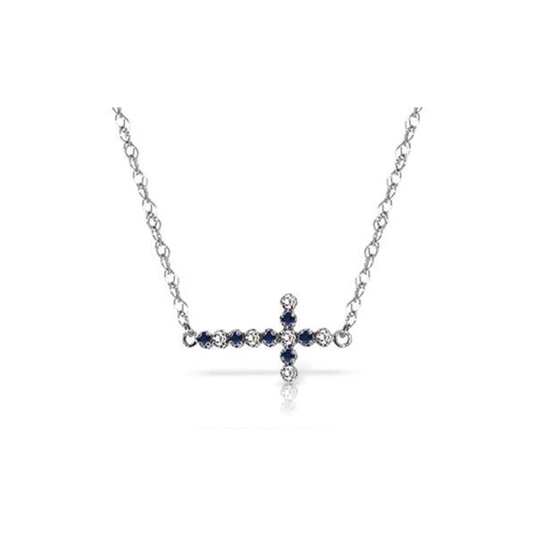 Genuine 0.24 ctw Sapphire & Diamond Necklace 14KT White Gold - REF-42M2T