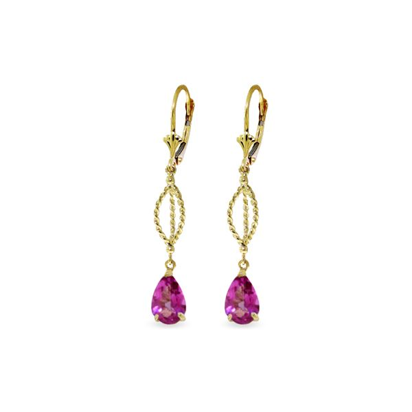 Genuine 3 ctw Pink Topaz Earrings 14KT Yellow Gold - REF-46R2P