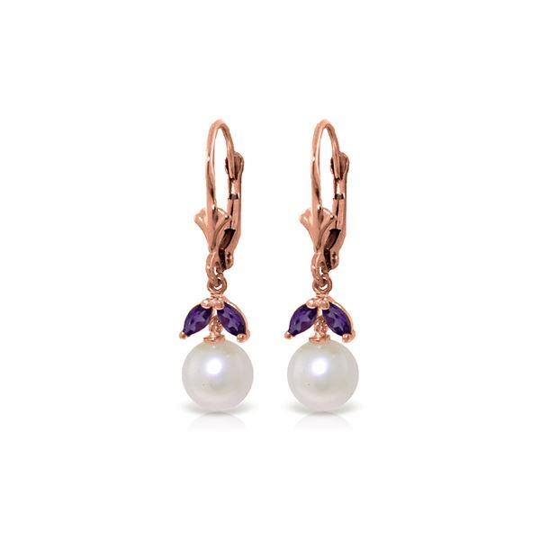 Genuine 4.4 ctw Pearl & Amethyst Earrings 14KT Rose Gold - REF-25H3X
