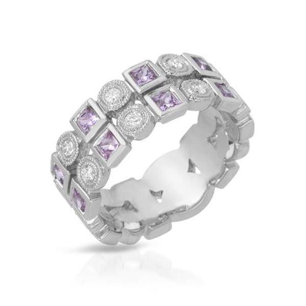 Natural 0.93 CTW Pink Sapphire & Diamond Ring 18K White Gold - REF-112M5F