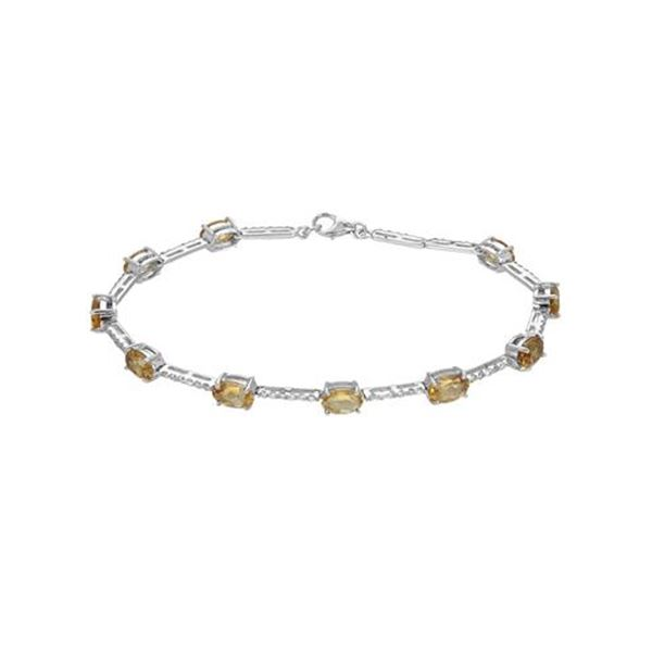 Natural 5.13 CTW Citrine & Diamond Bracelet 18K White Gold - REF-77M4F