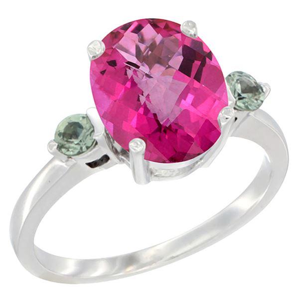 2.64 CTW Pink Topaz & Green Sapphire Ring 14K White Gold - REF-32X3M