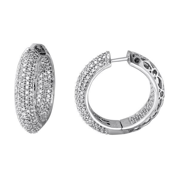 Natural 2.85 CTW Diamond Earrings 14K White Gold - REF-284R4K