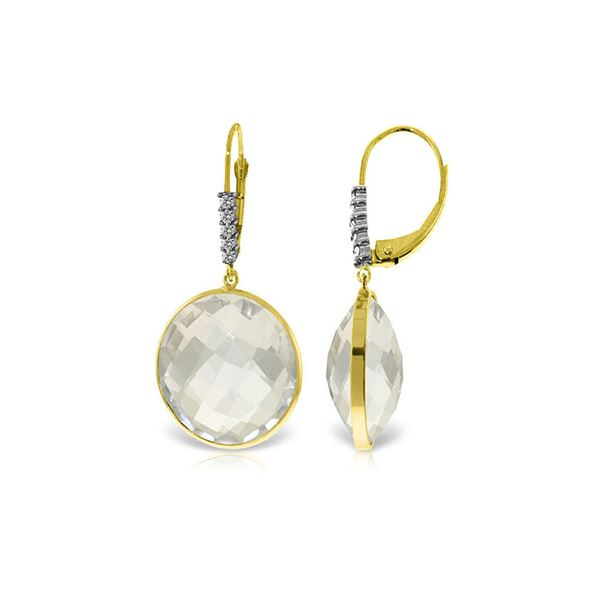 Genuine 36.15 ctw White Topaz & Diamond Earrings 14KT Yellow Gold - REF-63T8A