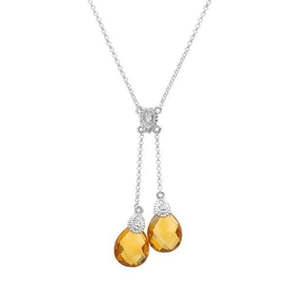 Natural 4.77 CTW Citrine & Diamond Necklace 14K White Gold - REF-37M8F