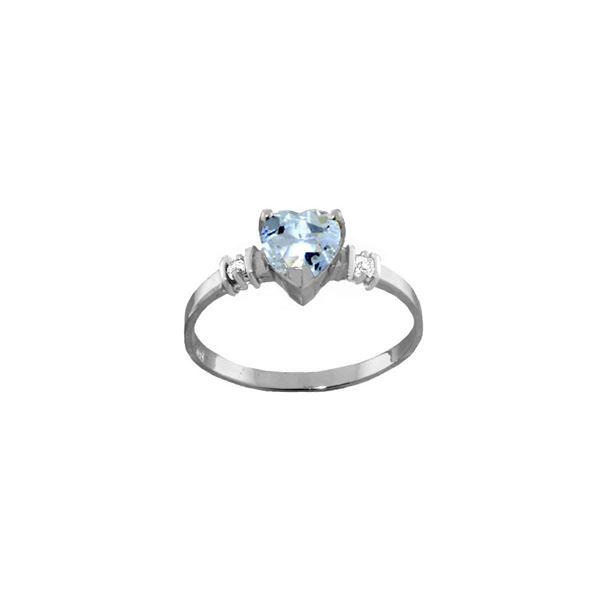 Genuine 0.98 ctw Aquamarine & Diamond Ring 14KT White Gold - REF-34Y3F