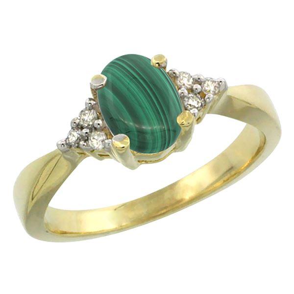 0.81 CTW Malachite & Diamond Ring 10K Yellow Gold - REF-27M5K