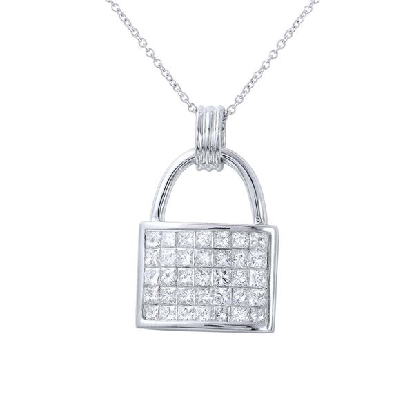 Natural 1.79 CTW Princess Diamond Necklace 14K White Gold - REF-279Y2N