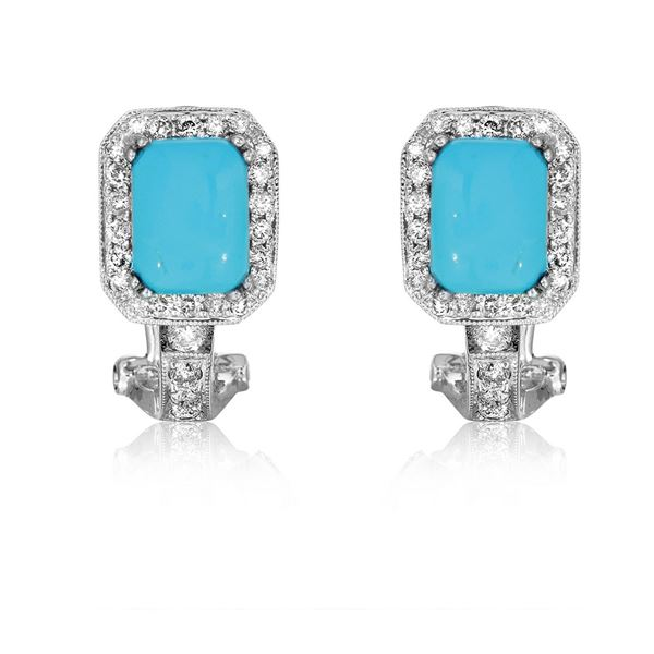 Natural 3.44 CTW Turquoise & Diamond Earrings 14K White Gold - REF-80Y3N