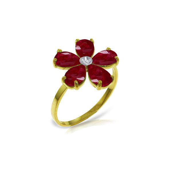Genuine 2.22 ctw Ruby & Diamond Ring 14KT Yellow Gold - REF-42F2Z