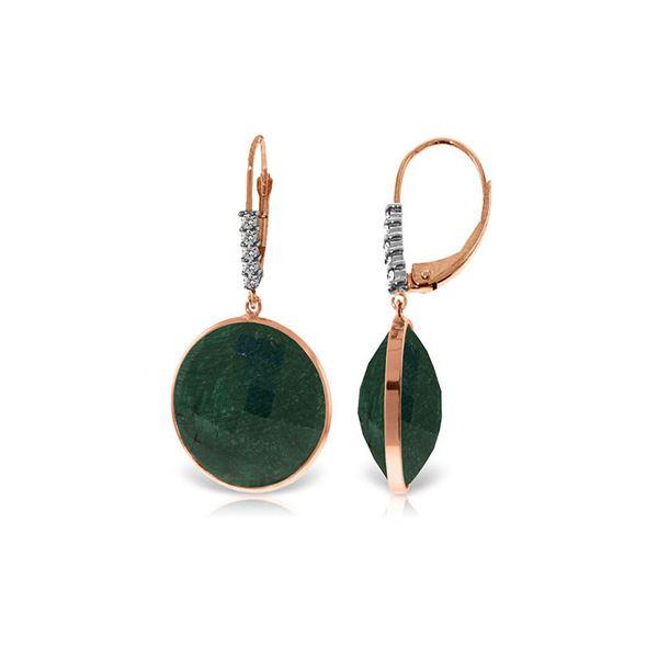Genuine 46.15 ctw Green Sapphire Corundum & Diamond Earrings 14KT Rose Gold - REF-78Y3F
