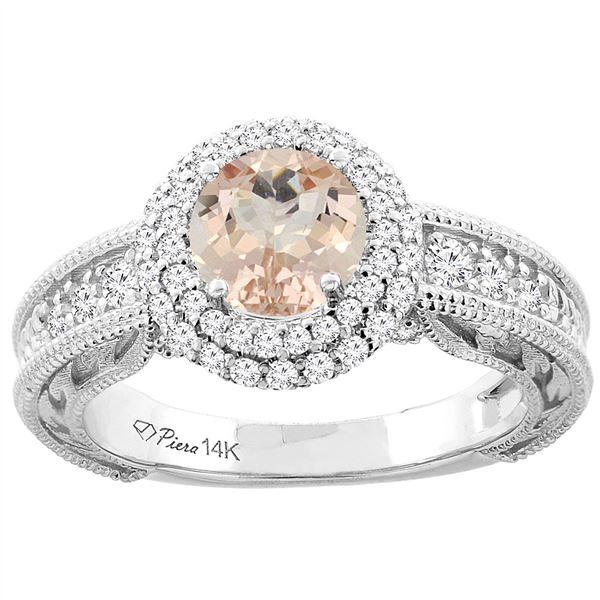 1.15 CTW Morganite & Diamond Ring 14K White Gold - REF-89M5K