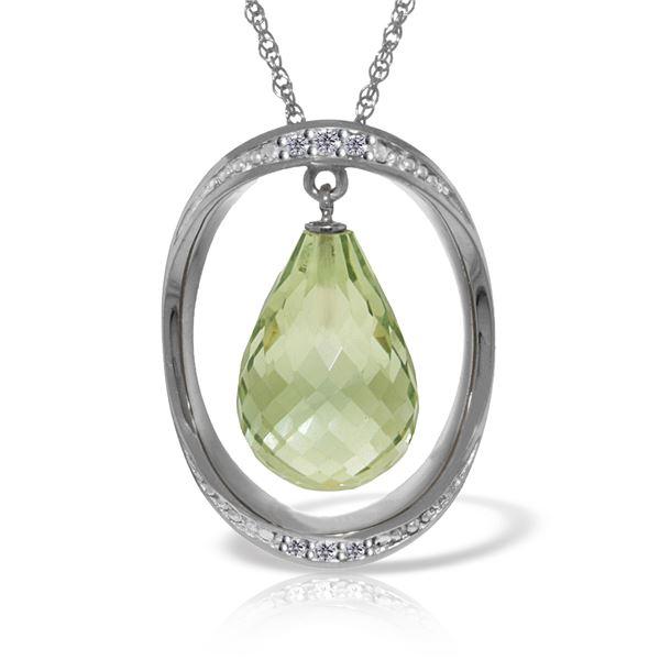 Genuine 9.6 ctw Amethyst & Diamond Necklace 14KT White Gold - REF-109V6W