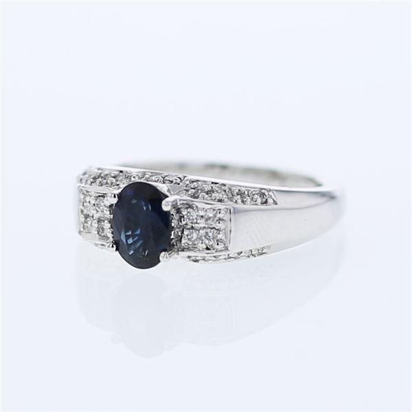 Natural 1.30 CTW Sapphire & Diamond Ring 14K White Gold - REF-70R2K