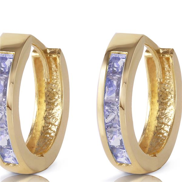 Genuine 0.95 ctw Tanzanite Earrings 14KT Yellow Gold - REF-42A7K