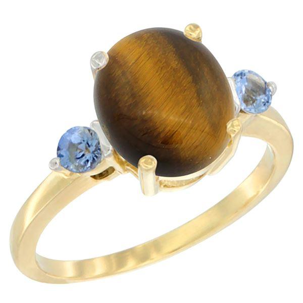 2.54 CTW Tiger Eye & Blue Sapphire Ring 10K Yellow Gold - REF-22H4M