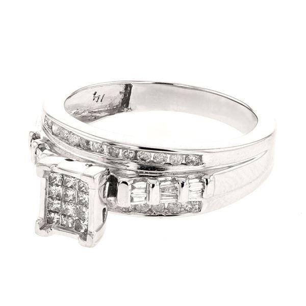 Natural 0.50 CTW Diamond & Princess Diamond Ring 14K White Gold - REF-77Y4N