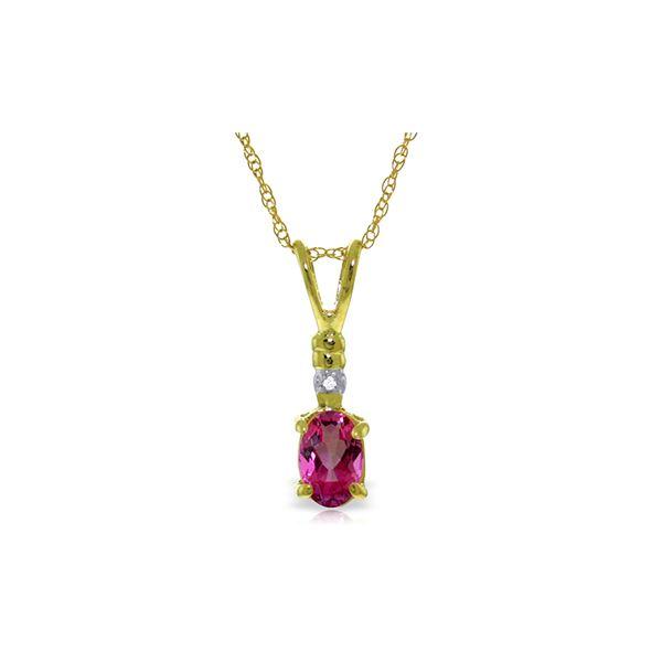 Genuine 0.46 ctw Pink Topaz & Diamond Necklace 14KT Yellow Gold - REF-21Y6F