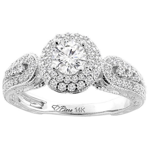 0.90 CTW Diamond Ring 14K White Gold - REF-143M3K