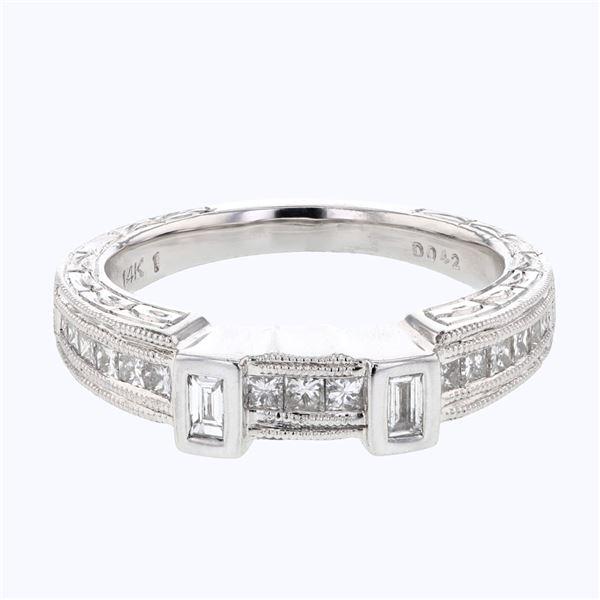 Natural 0.42 CTW Baguette & Princess Diamond Band Ring 14K White Gold - REF-80Y3N