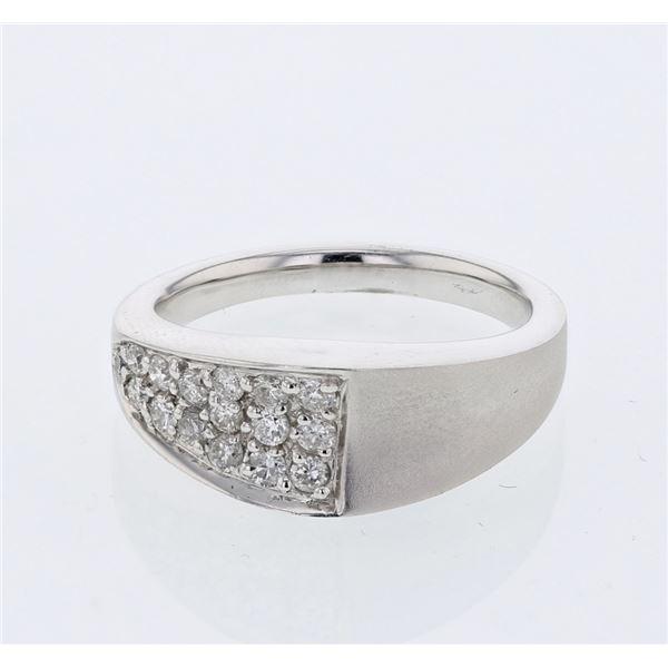 Natural 0.37 CTW Diamond Ring 18K White Gold - REF-90R9K