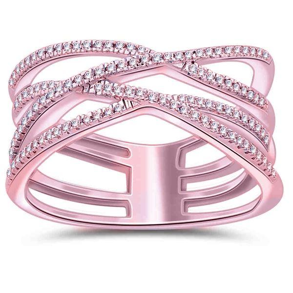 Natural 0.17 CTW Diamond Ring 14K Rose Gold - REF-45X2T