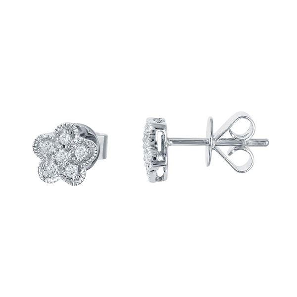 Natural 0.18 CTW Diamond Earrings 14K White Gold - REF-27H9W