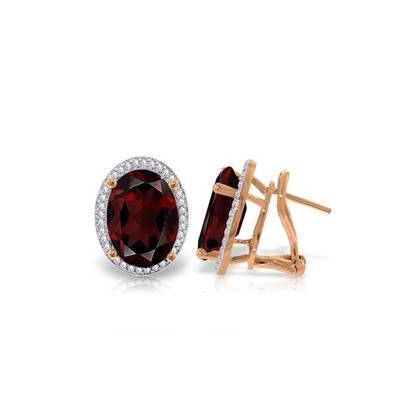 Genuine 12.46 ctw Garnet & Diamond Earrings 14KT Rose Gold - REF-130M2T