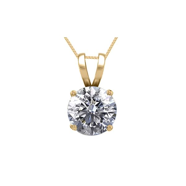 14K Yellow Gold 0.75 ct Natural Diamond Solitaire Necklace - REF-185Z6A