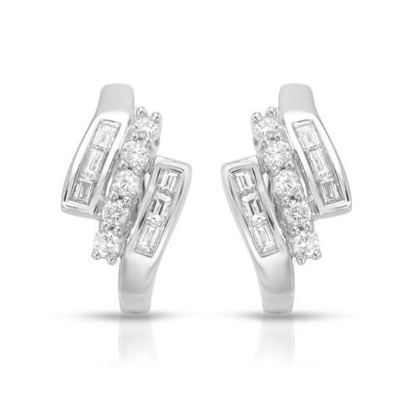 Natural 0.74 CTW Diamond & Baguette Earring 14K White Gold - REF-90R2K