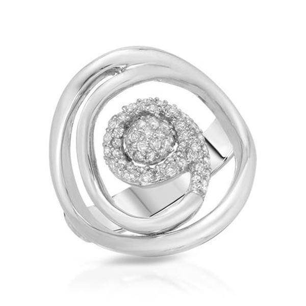 Natural 0.31 CTW Diamond Ring 18K White Gold - REF-100R8K