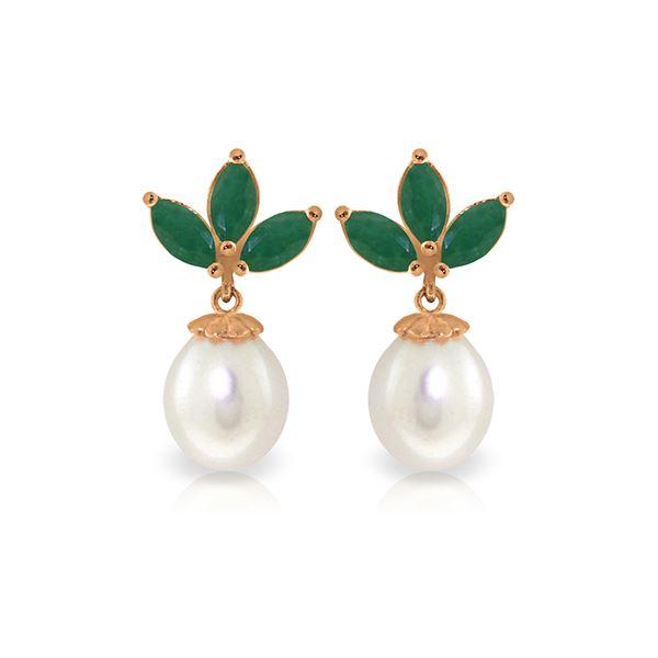 Genuine 9.5 ctw Emerald & Pearl Earrings 14KT Rose Gold - REF-35F2Z
