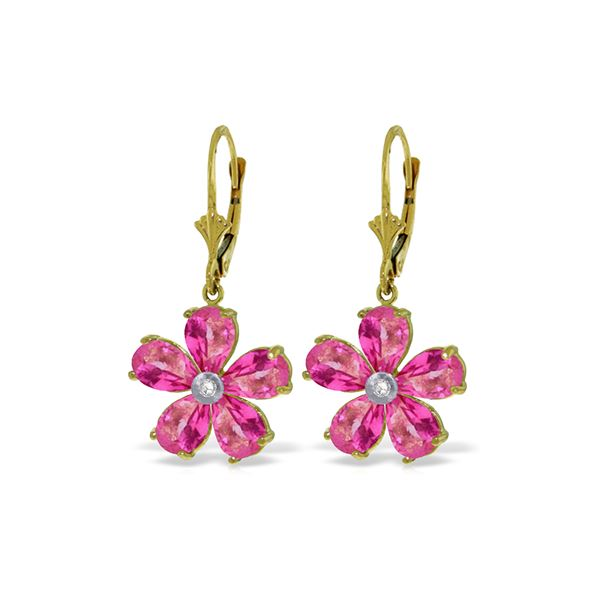 Genuine 4.43 ctw Pink Topaz & Diamond Earrings 14KT Yellow Gold - REF-51V2W