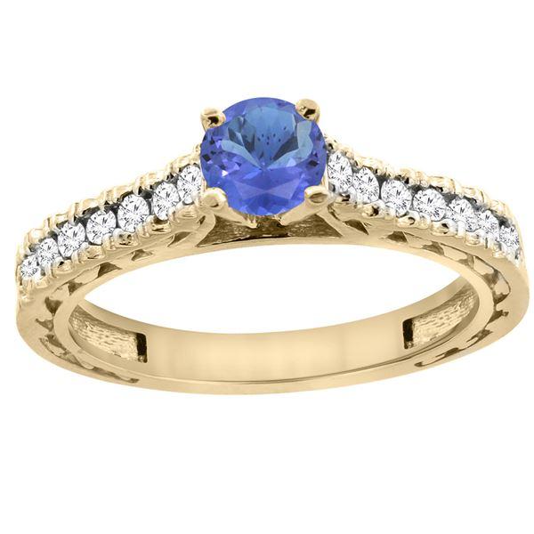 0.89 CTW Tanzanite & Diamond Ring 14K Yellow Gold - REF-64X8M
