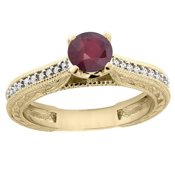 0.75 CTW Ruby & Diamond Ring 14K Yellow Gold - REF-53A5X