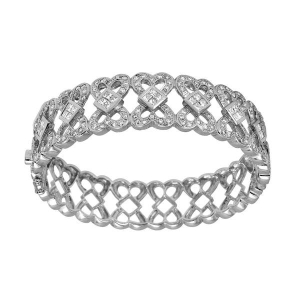 Natural 3.88 CTW Diamond & Princess Diamond Bracelet 14K White Gold - REF-591Y3N
