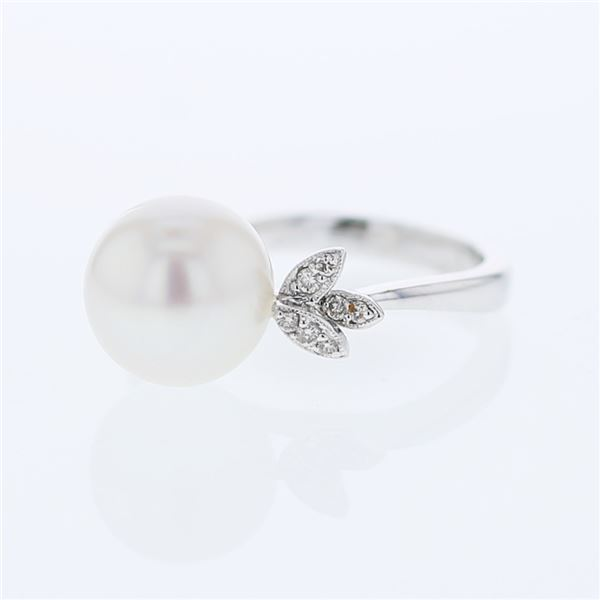 Natural 11.32 CTW Pearl & Diamond Ring 18K White Gold - REF-66Y6N