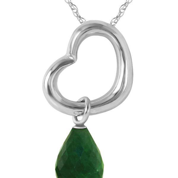 Genuine 3.3 ctw Green Sapphire Corundum Necklace 14KT White Gold - REF-30F7Z