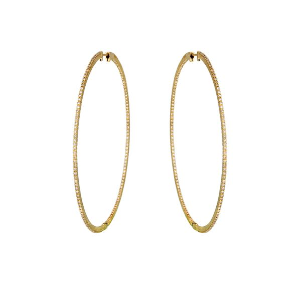 Natural 1.58 CTW Diamond Earrings 14K Yellow Gold - REF-170R3K