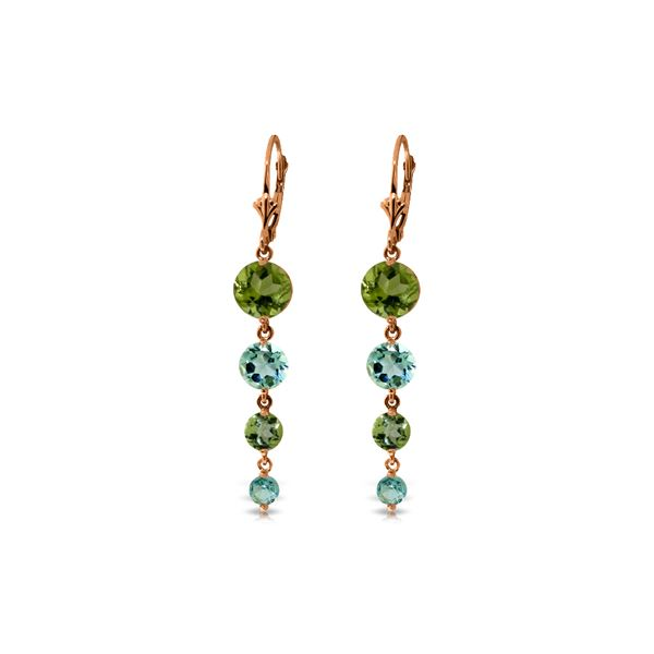 Genuine 7.8 ctw Blue Topaz & Peridot Earrings 14KT Rose Gold - REF-46H3X