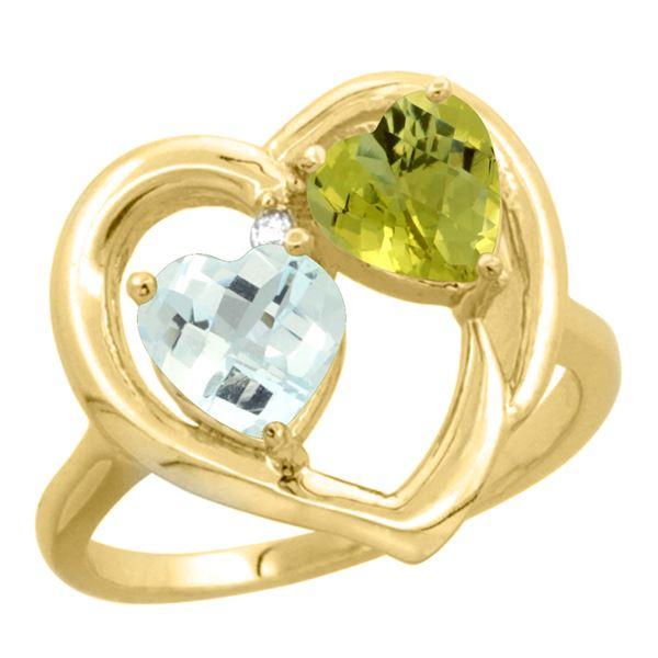 2.61 CTW Diamond, Aquamarine & Lemon Quartz Ring 10K Yellow Gold - REF-27V5R