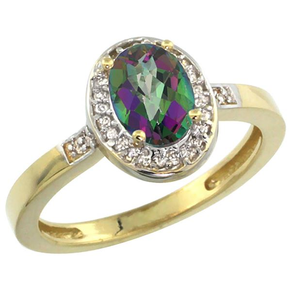1.15 CTW Mystic Topaz & Diamond Ring 10K Yellow Gold - REF-31A5X