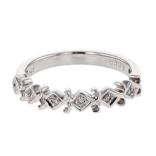 Natural 0.03 CTW Diamond Band Ring 14K White Gold - REF-28R8K