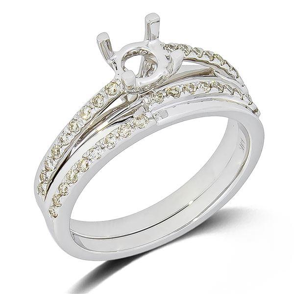 Natural 0.31 CTW Diamond Ring 14K White Gold - REF-70R2K