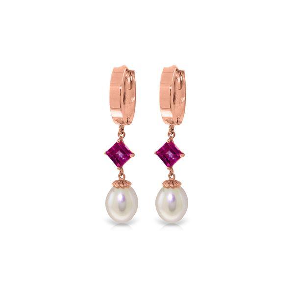 Genuine 9.5 ctw Pink Topaz Earrings 14KT Rose Gold - REF-53W6Y