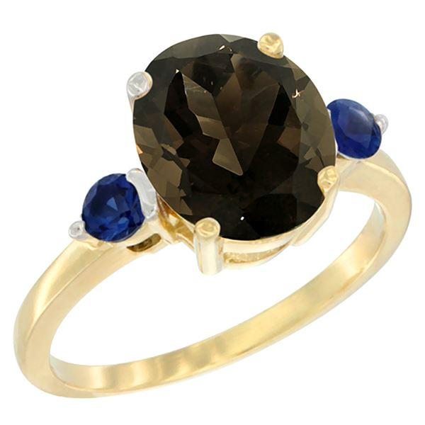 2.64 CTW Quartz & Blue Sapphire Ring 14K Yellow Gold - REF-32A3X