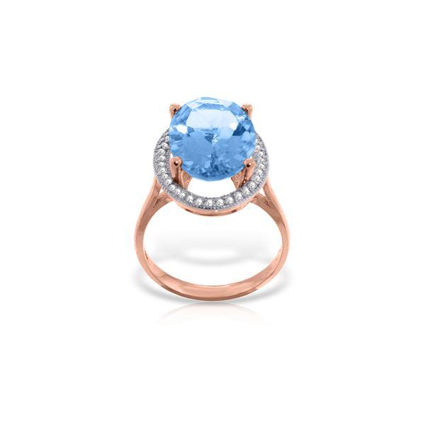 Genuine 7.58 ctw Blue Topaz & Diamond Ring 14KT Rose Gold - REF-85P2H